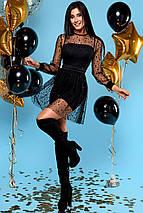 Женское черное короткое платье из сетки (Асель jd), фото 2