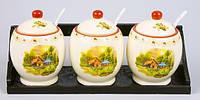 Набор керамических банок (3шт) 300мл с ложками на деревянной подставке Пейзаж BonaDi QF555-DP_12ps