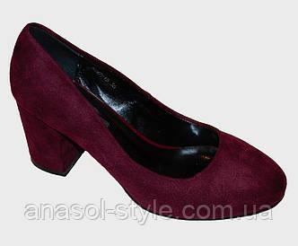 Туфли женские Lino Marano низкий каблук замша бордо