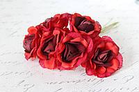 Декоративный цветок чайной розы диаметр 4 см красно-бордового цвета, фото 1