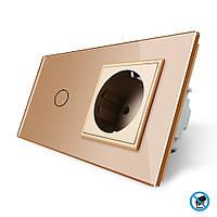 Бесконтактный выключатель с розеткой Livolo, цвет золото, стекло (VL-C701/C7C1EU-PRO-13), фото 1