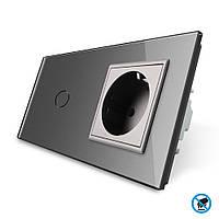 Бесконтактный выключатель с розеткой Livolo, цвет серый, стекло (VL-C701/C7C1EU-PRO-15)