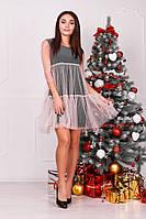 Женское трикотажное платье с сеткой поверх, фото 1