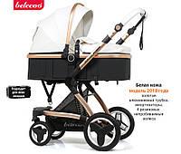 Всесезонная детская коляска-трансформер 2 в 1 от компании Belecoo X6 (White). Прогулочная коляска