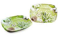 Тарелка стеклянная прямоугольная 25см Ландыши BonaDi 809-258