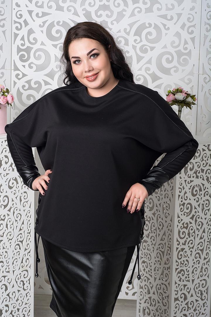 Трикотажный черный джемпер для полных 68-78 размер