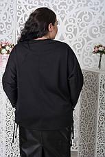 Трикотажный черный джемпер для полных 68-78 размер, фото 2