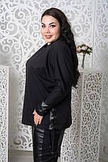 Трикотажный черный джемпер для полных 68-78 размер, фото 3