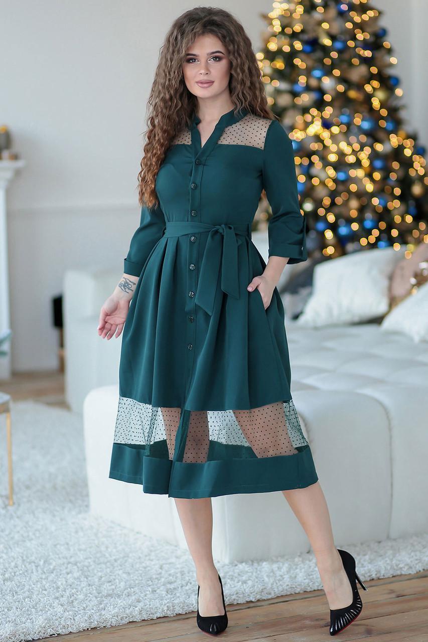 Ждана зеленое Платье на пуговицах