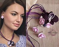 """Серьги+кулон из полимерной глины """"Орхидея с розами"""". Подарок девушке"""