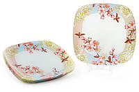 Тарелка стеклянная квадратная 25см Цветущая вишня BonaDi 809-274