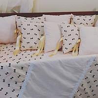 Комплект бортиков в кроватку малыша: 10 подушек 30*30 + подушка 30*60 + пододеяльник + простынь + наволочка