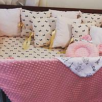 Комплект (бортики + конверт + ортопедическая подушка) в кроватку малыша
