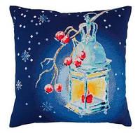 Набір для вишивки хрестом RTO CU013 «Подушка Тепле світло Різдва»