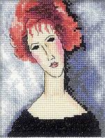 Набор для вышивки крестом RTO ЕН335 «Девушка с рыжими волосами» по мотивам работы Амедео Модильяни