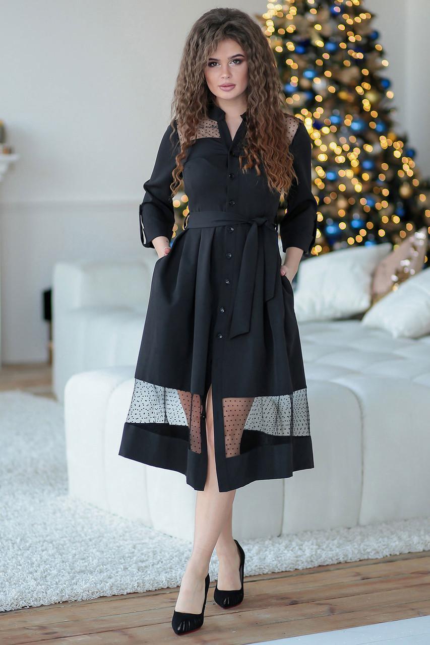 Ждана черное Платье на пуговицах