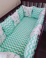 Бортики-подушки (12 штук-30*30) в детскую кроватку для новорожденных + простынка хлопок