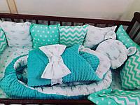 Бортики-защита, кокон + ортопедическая подушка + конверт-плед + постельное бельё