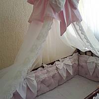 Розовые бортики + постельное + балдахин с держателем