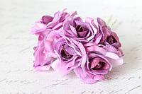 Декоративный цветок чайной розы диаметр 4 см сиренево-фиолетового цвета, фото 1
