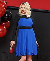 Платье женское миди, креп костюмка, двухцветное, фото 1