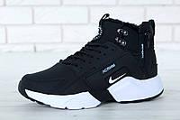 Мужские зимние кроссовки Nike Huarache X City Winter Acronym Black/White на меху (Цигейка)