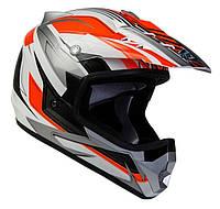 Шлем GEON 623 Кросс Vector белый-оранжевый