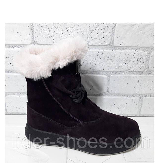 Женские ботинки на танкетке зимние