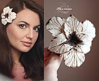 """""""Шоколадный гладиолус"""" заколка цветок для девушки ручной работы., фото 1"""
