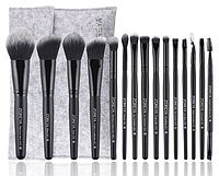 Набор кистей Zoreya 15 штук Black Brush (серый чехол на липучке)