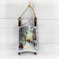 Новогодние сани Игрушка на елку  Подарок на день св. Николая Новый год Рождество