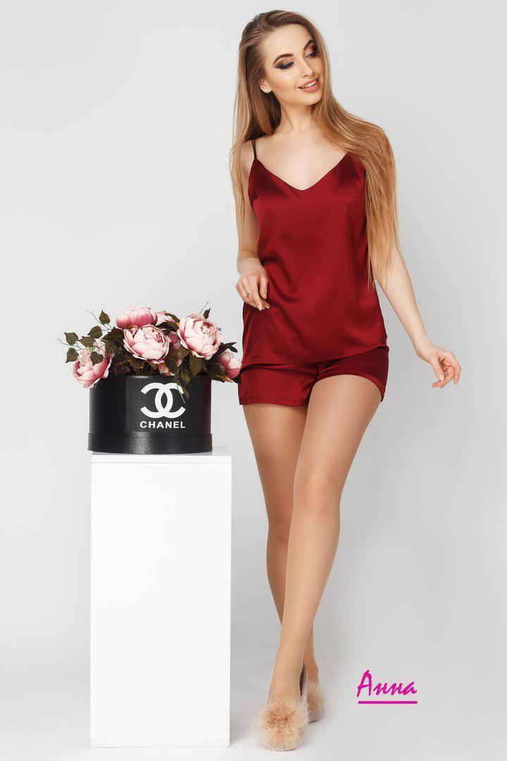 Купить Женскую шёлковую пижаму с майкой и шортами в расцветках ... 83c3b0a0e80bd