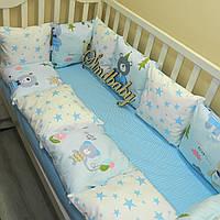 Защитные бортики из сатина для детской кроватки -14