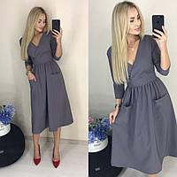 Платье в полоску с карманами женское (костюмка), фото 1