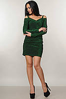 Коктейльное платье Злата с люрексом 42-52 размеры изумрудное