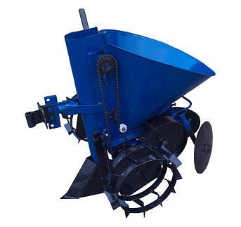 Картофелесажатель мотоблочный Кентавр К-1Л (синий) с транспортировочными колесами