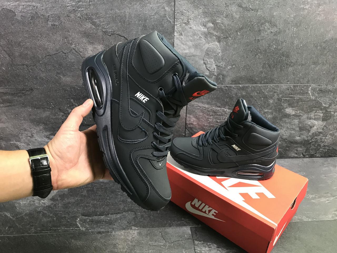 f16fb964bf2b Мужские зимние кроссовки на меху в стиле Nike Air Max 90, темно-синие.