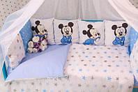 Комплект детского постельного белья в кроватку Микки Маус с бортиками, фото 1