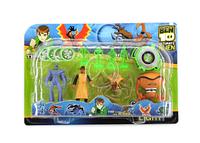 Набор из четырех героев Бен Тен со светящимися фигурками, часами Ben 10 и дисками для стрельбы