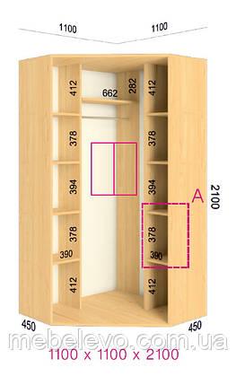 Шкаф-купе угловой 2 двери Стандарт 110х110 h-210, ТМ Феникс, фото 2