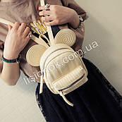 Городской мини-рюкзак с ушками Микки-мауса (высота 16см) для детей и девушек, PU кожа