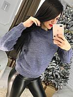"""Вязаный женский свитер """"Зигзаг"""", джинс, фото 1"""