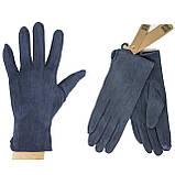 Замшевые синие женские перчатки, фото 2