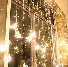 Гирлянда штора 3x6 м 600 LED теплый белый, фото 3