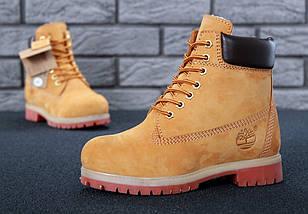 Женские (мужские) зимние ботинки Timberland 6 inch Yellow С МЕХОМ, фото 3