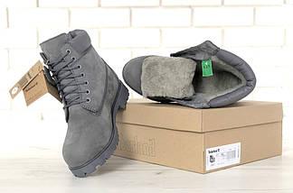 Женские (мужские) зимние ботинки Timberland 6 inch Grey С МЕХОМ, фото 2