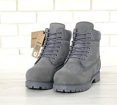 Женские (мужские) зимние ботинки Timberland 6 inch Grey С МЕХОМ, фото 3