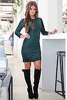 Изумрудное облегающее женское нарядное велюровое платье АУРИКА. Арт-7552/7, фото 1