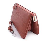 Коричневый женский кошелек на молнии с дополнительной ручкой