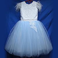 Детское нарядное платье 6-8лет бальное с Перьями , фото 1